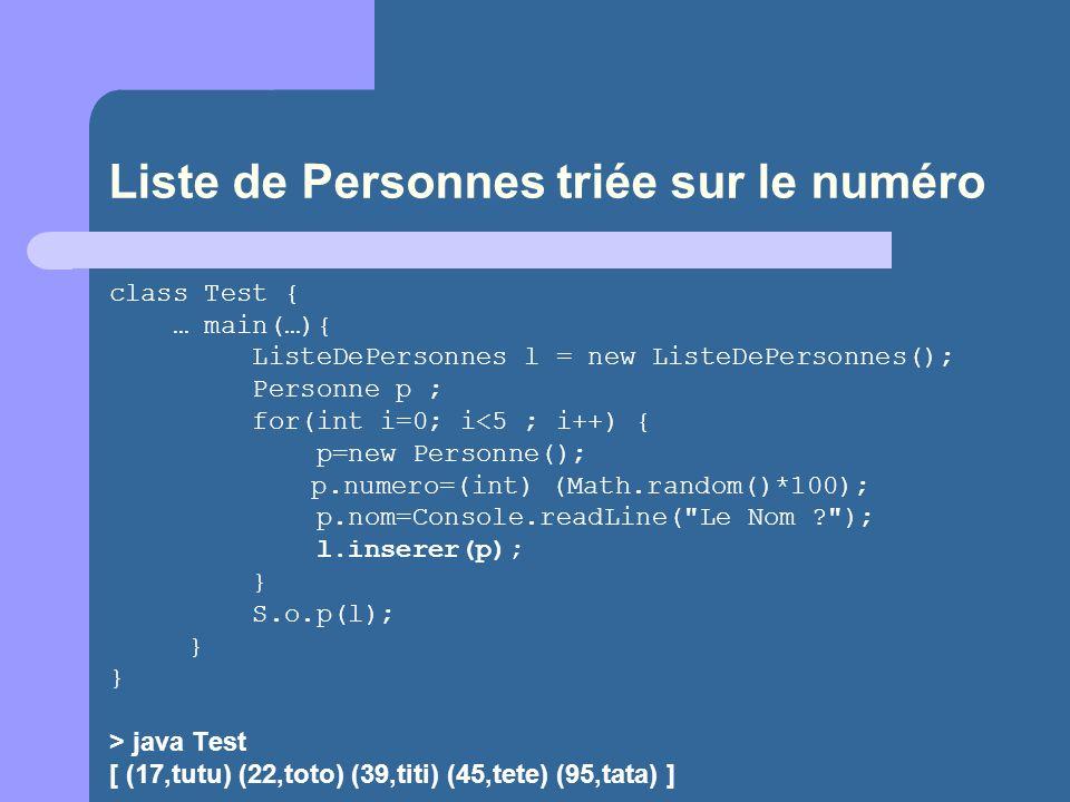 Liste de Personnes triée sur le numéro class Test { … main(…){ ListeDePersonnes l = new ListeDePersonnes(); Personne p ; for(int i=0; i<5 ; i++) { p=new Personne(); p.numero=(int) (Math.random()*100); p.nom=Console.readLine( Le Nom ? ); l.inserer(p); } S.o.p(l); } } > java Test [ (17,tutu) (22,toto) (39,titi) (45,tete) (95,tata) ]
