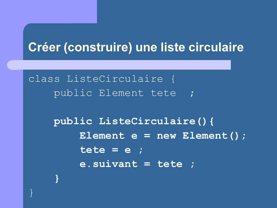 Créer (construire) une liste circulaire class ListeCirculaire { public Element tete ; public ListeCirculaire(){ Element e = new Element(); tete = e ; e.suivant = tete ; } }