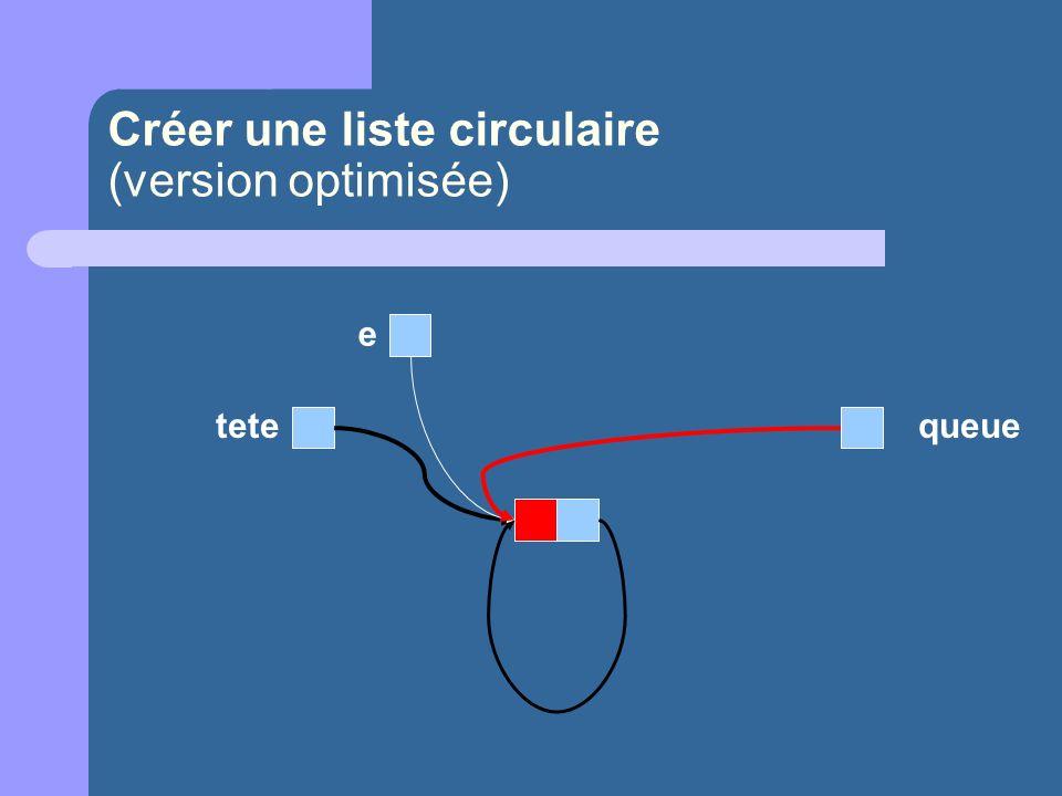 Créer une liste circulaire (version optimisée) e tetequeue