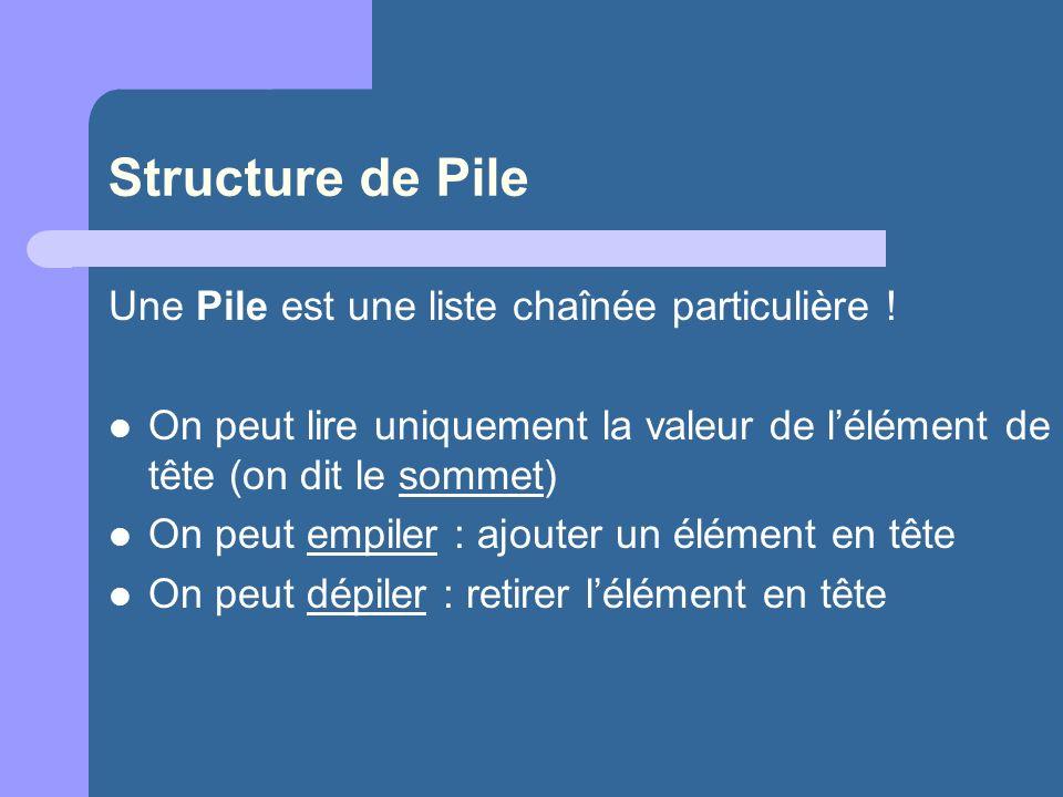 Structure de Pile Une Pile est une liste chaînée particulière .