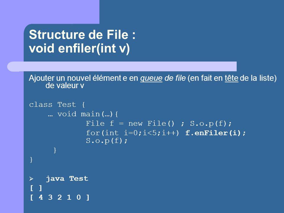 Structure de File : void enfiler(int v) Ajouter un nouvel élément e en queue de file (en fait en tête de la liste) de valeur v class Test { … void main(…){ File f = new File() ; S.o.p(f); for(int i=0;i<5;i++) f.enFiler(i); S.o.p(f); } } java Test [ ] [ 4 3 2 1 0 ]