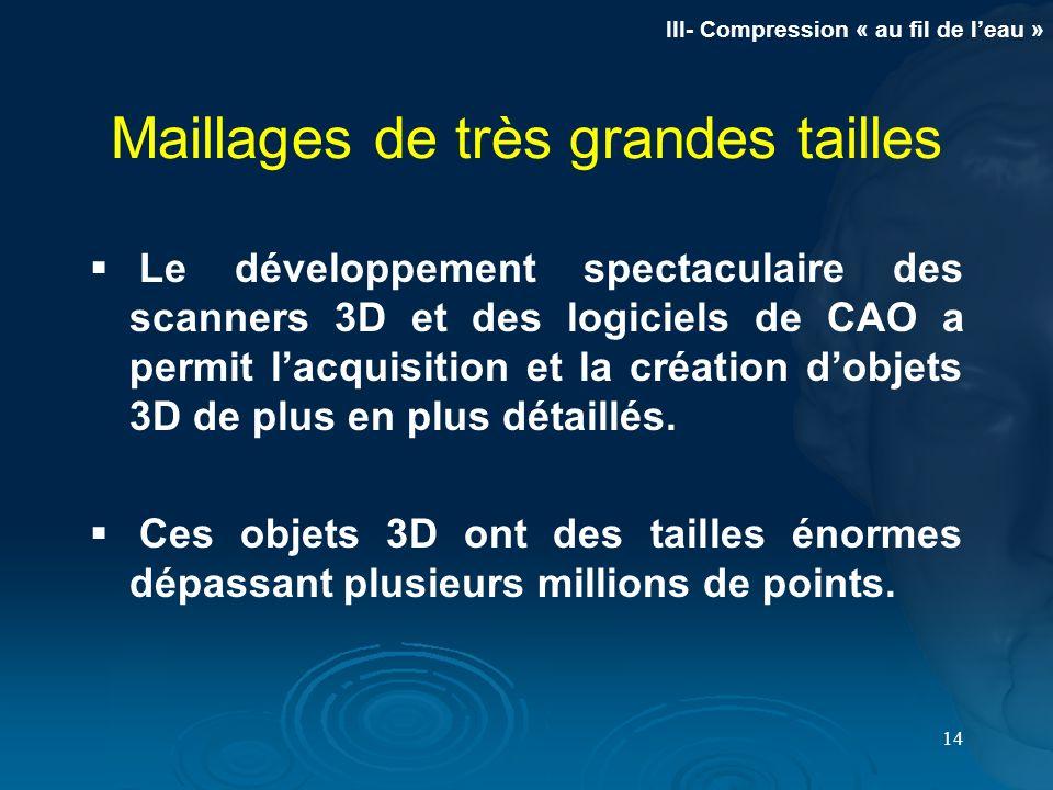 14 Maillages de très grandes tailles Le développement spectaculaire des scanners 3D et des logiciels de CAO a permit lacquisition et la création dobje
