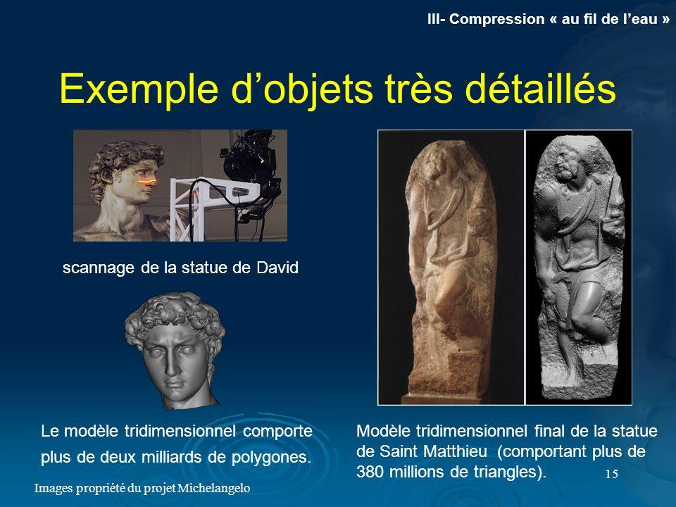 15 Exemple dobjets très détaillés scannage de la statue de David Le modèle tridimensionnel comporte plus de deux milliards de polygones. Modèle tridim