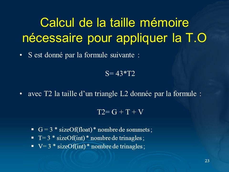 23 Calcul de la taille mémoire nécessaire pour appliquer la T.O S est donné par la formule suivante : S= 43*T2 avec T2 la taille dun triangle L2 donné