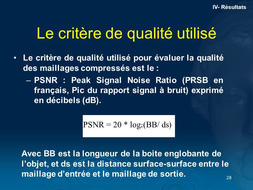 28 Le critère de qualité utilisé pour évaluer la qualité des maillages compressés est le : –PSNR : Peak Signal Noise Ratio (PRSB en français, Pic du r
