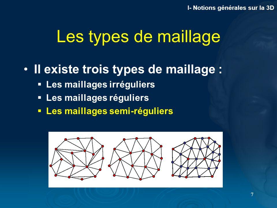 7 Les types de maillage Il existe trois types de maillage : Les maillages irréguliers Les maillages réguliers Les maillages semi-réguliers I- Notions