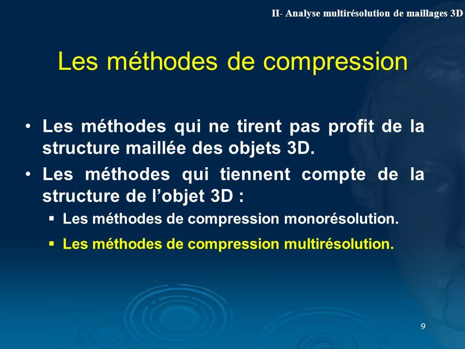 9 Les méthodes de compression Les méthodes qui ne tirent pas profit de la structure maillée des objets 3D. Les méthodes qui tiennent compte de la stru