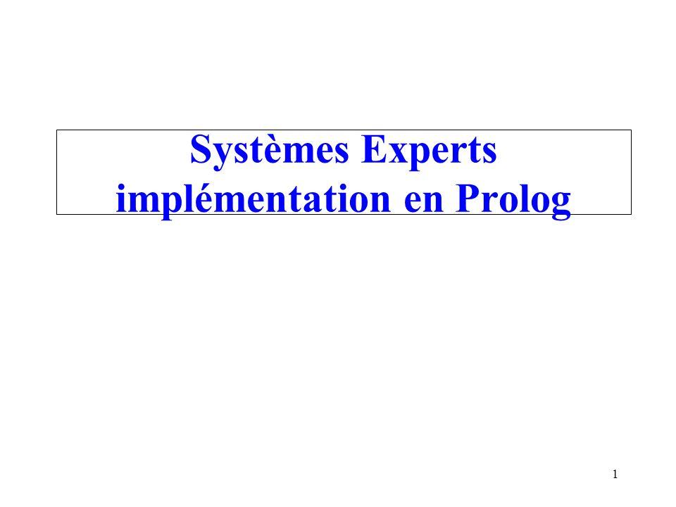 1 Systèmes Experts implémentation en Prolog