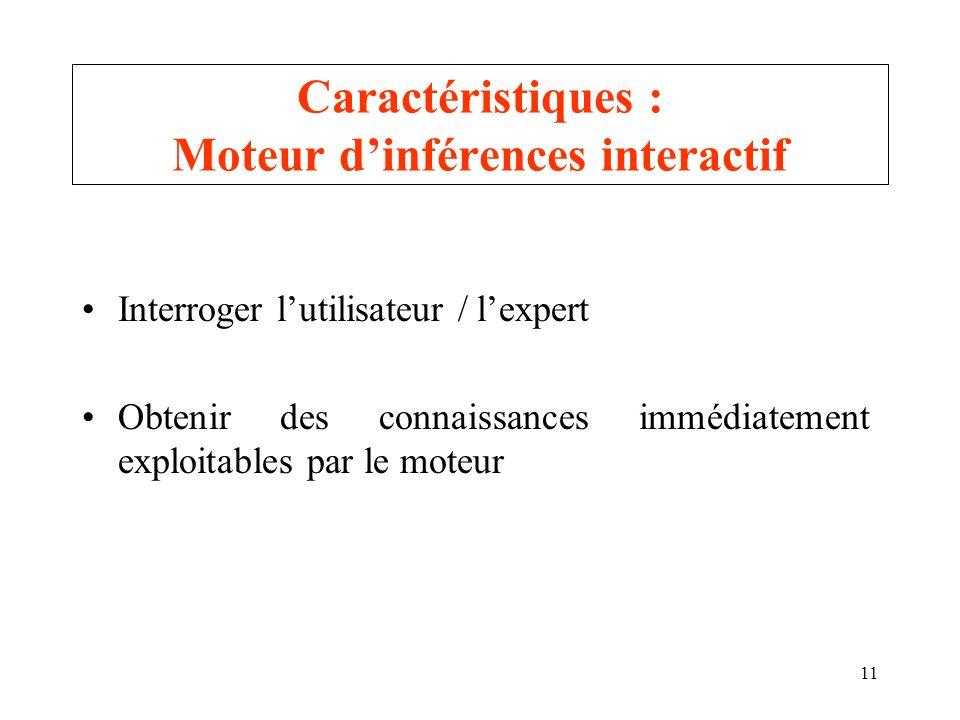 11 Caractéristiques : Moteur dinférences interactif Interroger lutilisateur / lexpert Obtenir des connaissances immédiatement exploitables par le mote