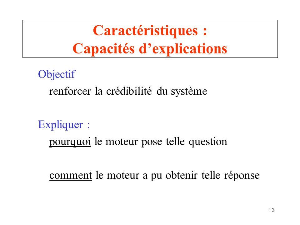 12 Caractéristiques : Capacités dexplications Objectif renforcer la crédibilité du système Expliquer : pourquoi le moteur pose telle question comment
