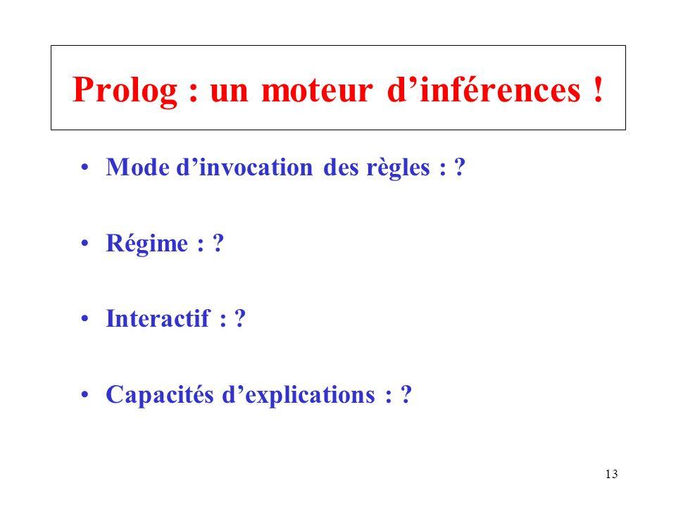 13 Prolog : un moteur dinférences ! Mode dinvocation des règles : ? Régime : ? Interactif : ? Capacités dexplications : ?