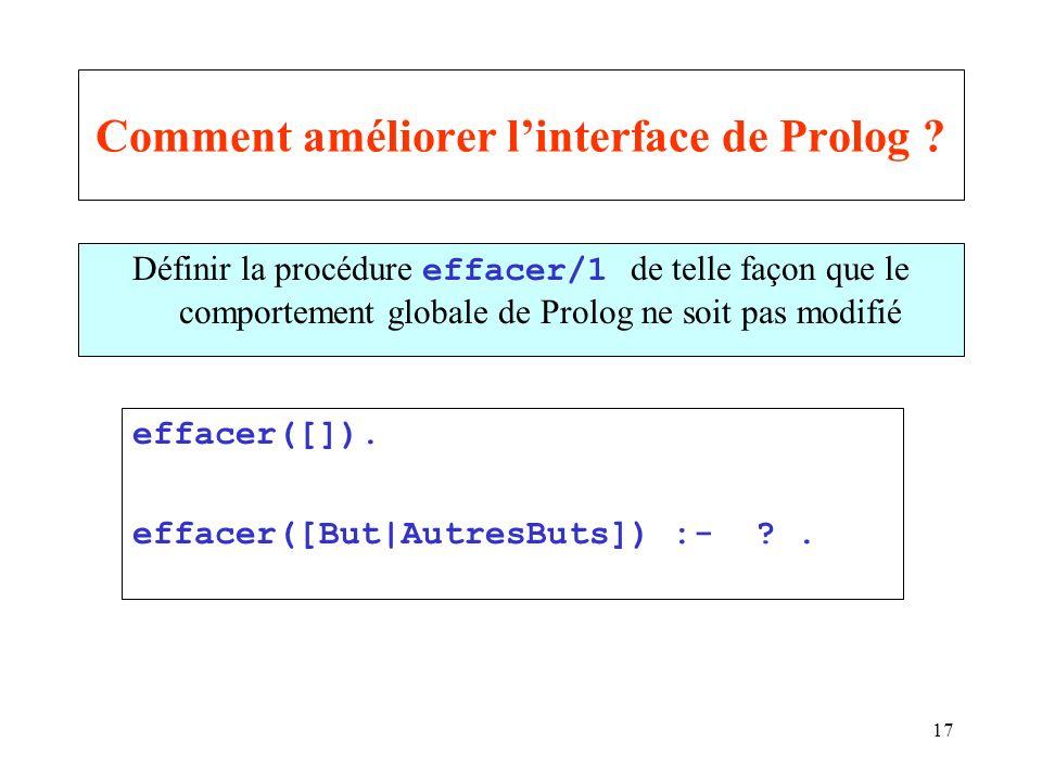 17 Comment améliorer linterface de Prolog ? Définir la procédure effacer/1 de telle façon que le comportement globale de Prolog ne soit pas modifié ef