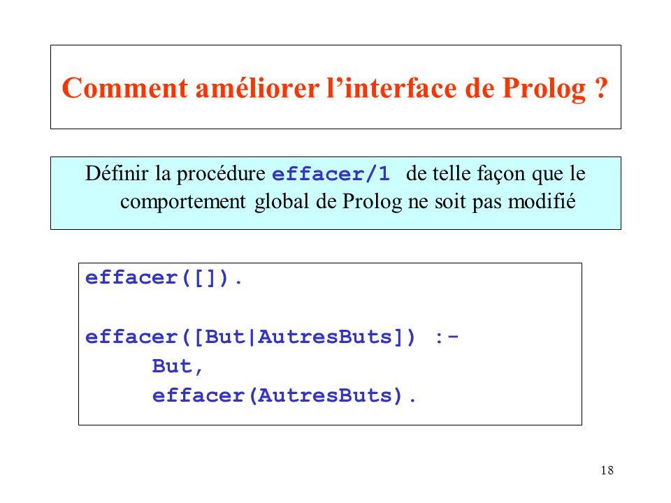 18 Comment améliorer linterface de Prolog ? Définir la procédure effacer/1 de telle façon que le comportement global de Prolog ne soit pas modifié eff