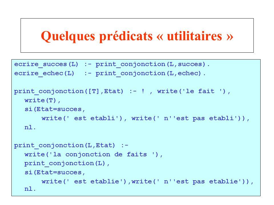 21 Quelques prédicats « utilitaires » ecrire_succes(L) :- print_conjonction(L,succes). ecrire_echec(L) :- print_conjonction(L,echec). print_conjonctio