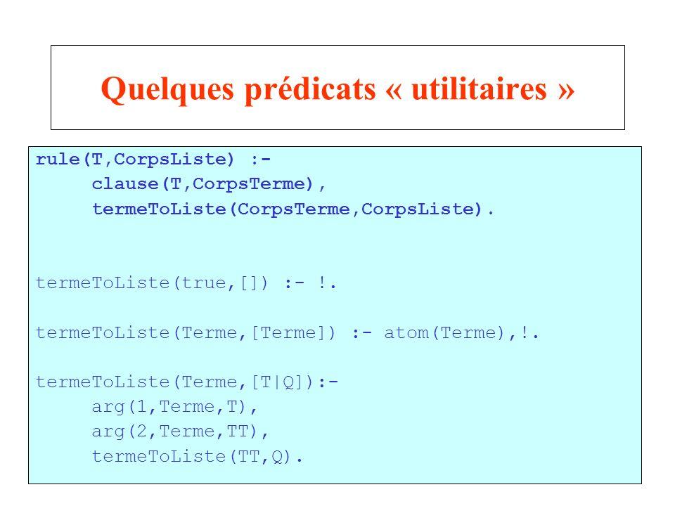 29 Quelques prédicats « utilitaires » rule(T,CorpsListe) :- clause(T,CorpsTerme), termeToListe(CorpsTerme,CorpsListe).