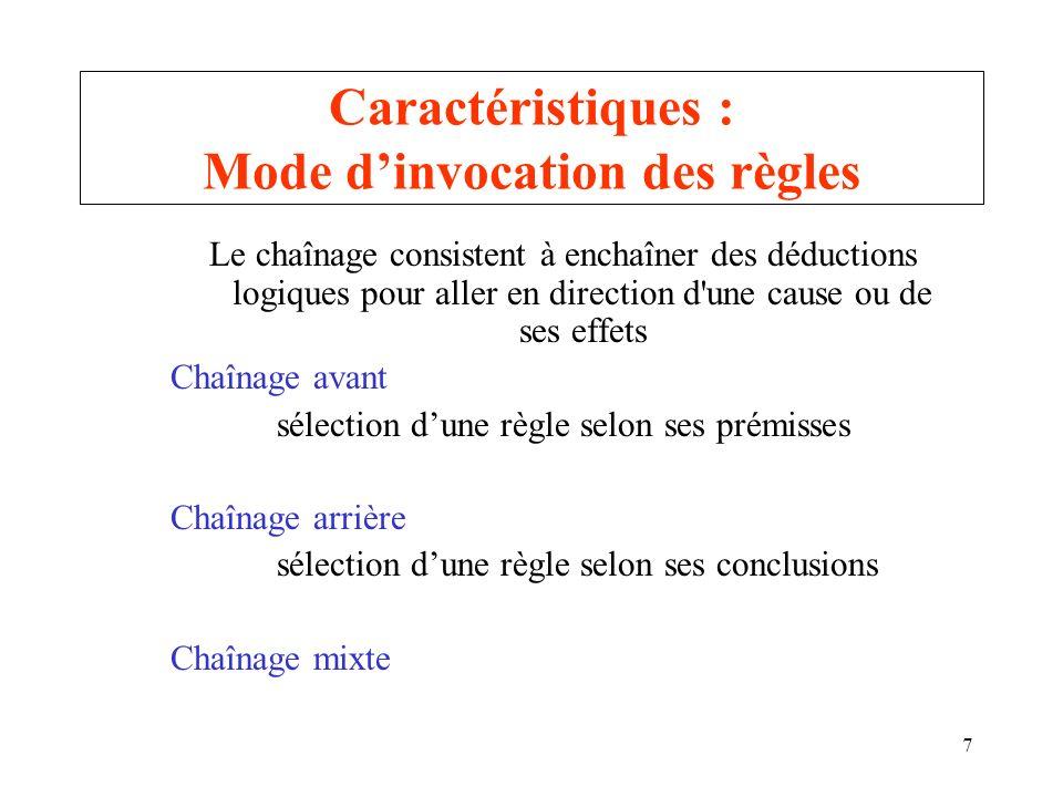 7 Caractéristiques : Mode dinvocation des règles Le chaînage consistent à enchaîner des déductions logiques pour aller en direction d'une cause ou de