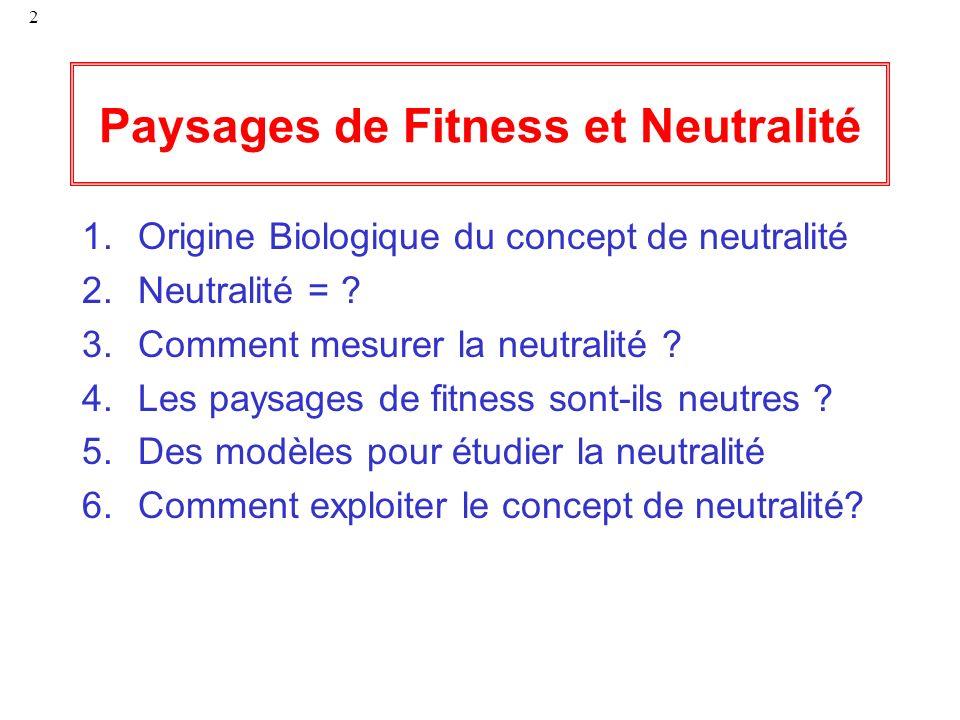 2 Paysages de Fitness et Neutralité 1.Origine Biologique du concept de neutralité 2.Neutralité = ? 3.Comment mesurer la neutralité ? 4.Les paysages de