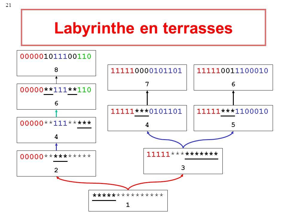 21 Labyrinthe en terrasses *************** 1 00000********** 2 00000**111***** 4 00000**111**110 6 000001011100110 8 11111********** 3 11111***0101101