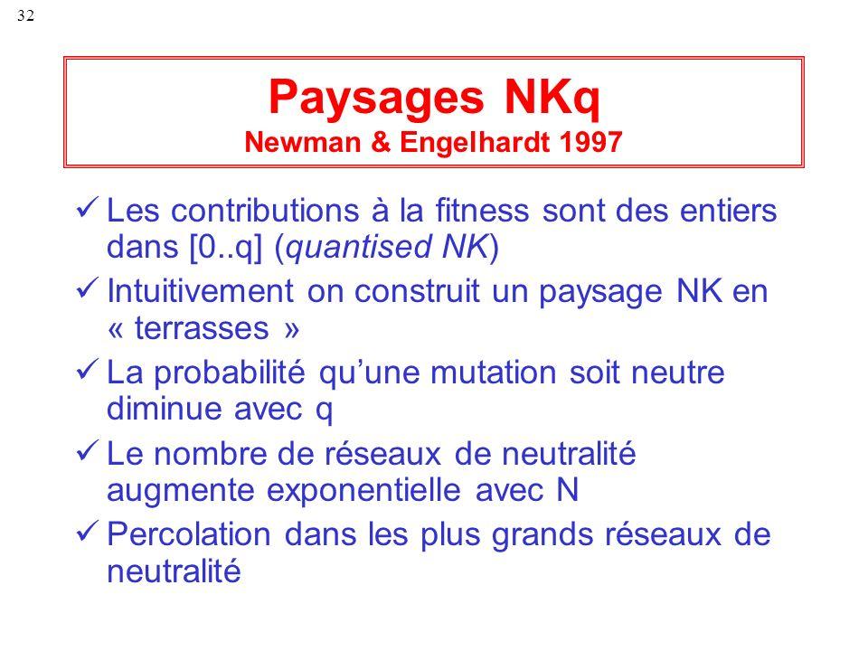 32 Paysages NKq Newman & Engelhardt 1997 Les contributions à la fitness sont des entiers dans [0..q] (quantised NK) Intuitivement on construit un pays