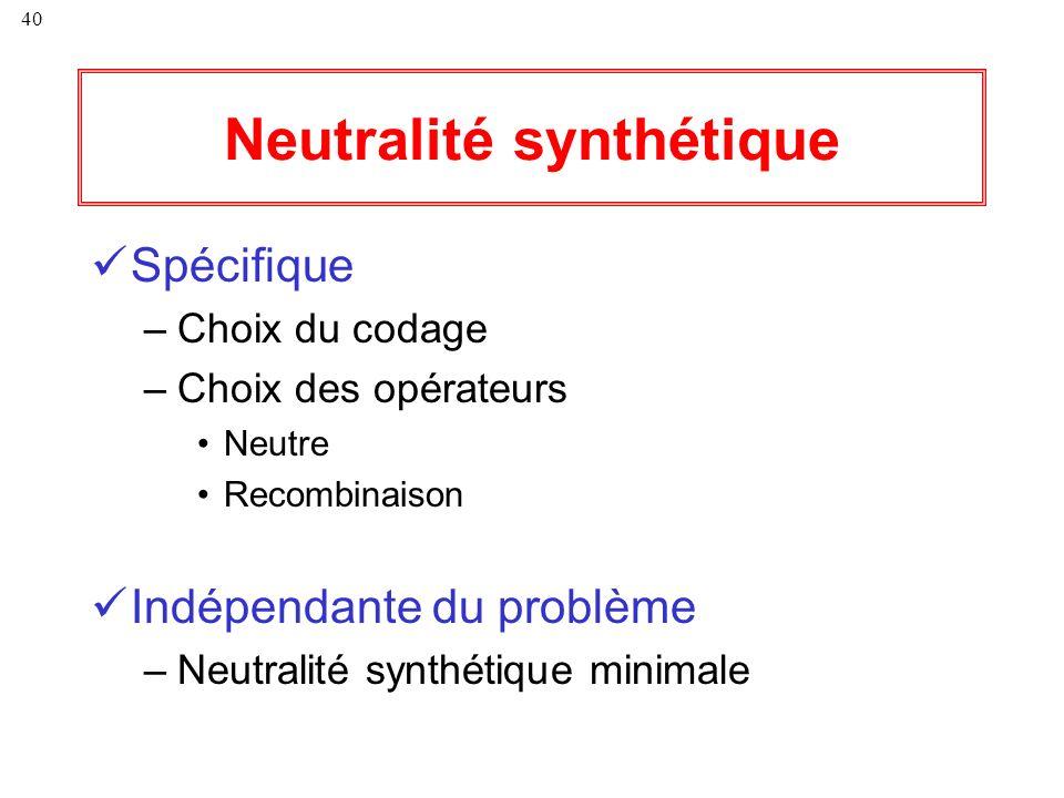 40 Neutralité synthétique Spécifique –Choix du codage –Choix des opérateurs Neutre Recombinaison Indépendante du problème –Neutralité synthétique mini