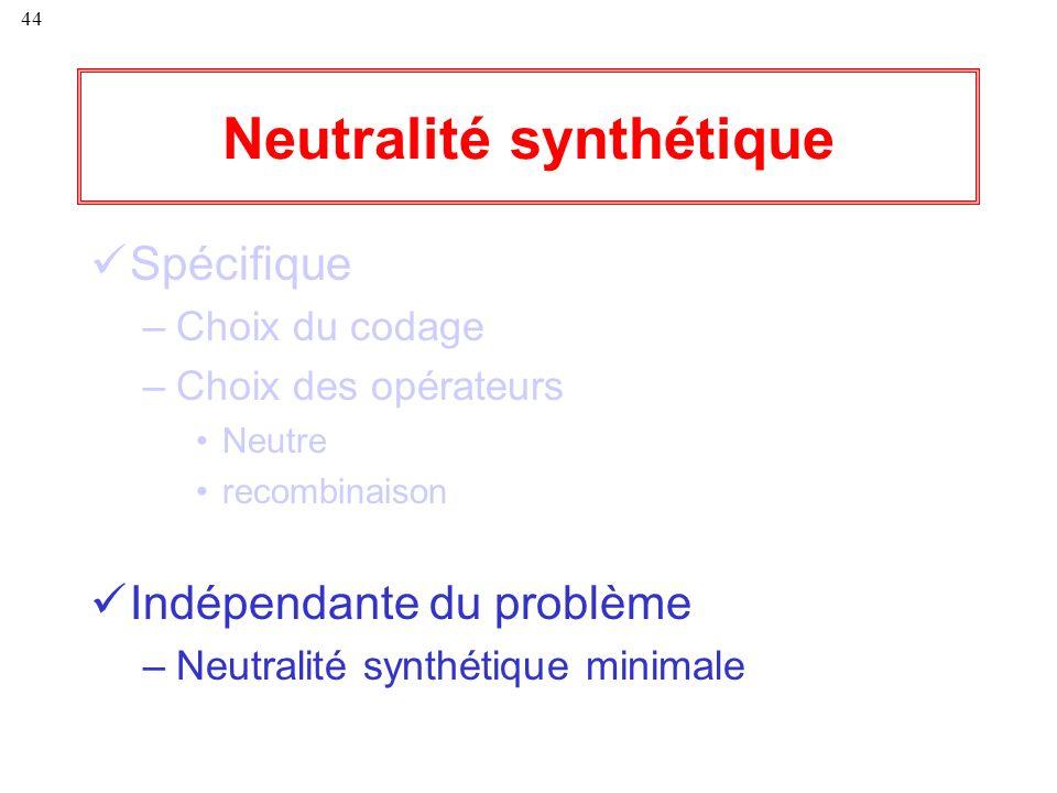 44 Neutralité synthétique Spécifique –Choix du codage –Choix des opérateurs Neutre recombinaison Indépendante du problème –Neutralité synthétique mini