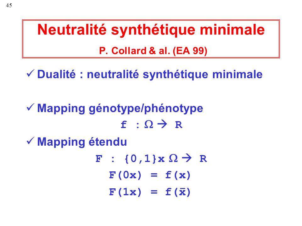 45 Neutralité synthétique minimale P. Collard & al. (EA 99) Dualité : neutralité synthétique minimale Mapping génotype/phénotype f : R Mapping étendu