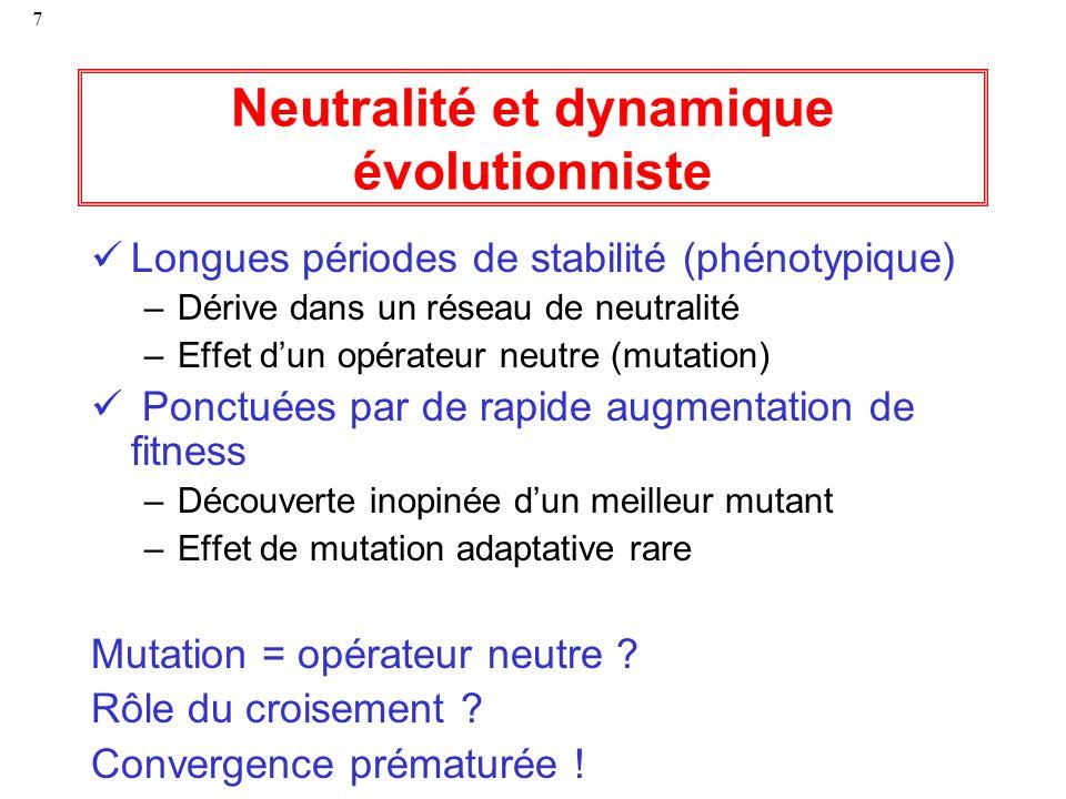 7 Neutralité et dynamique évolutionniste Longues périodes de stabilité (phénotypique) –Dérive dans un réseau de neutralité –Effet dun opérateur neutre