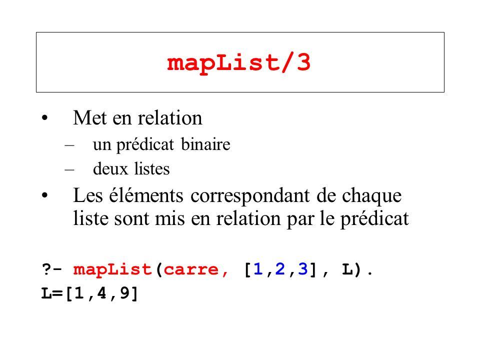 mapList/3 Met en relation –un prédicat binaire –deux listes Les éléments correspondant de chaque liste sont mis en relation par le prédicat ?- mapList