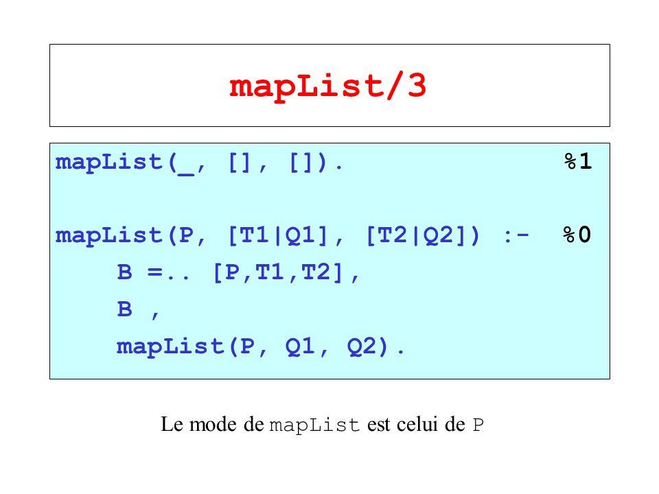 mapList/3 mapList(_, [], []). %1 mapList(P, [T1|Q1], [T2|Q2]) :- %0 B =.. [P,T1,T2], B, mapList(P, Q1, Q2). Le mode de mapList est celui de P