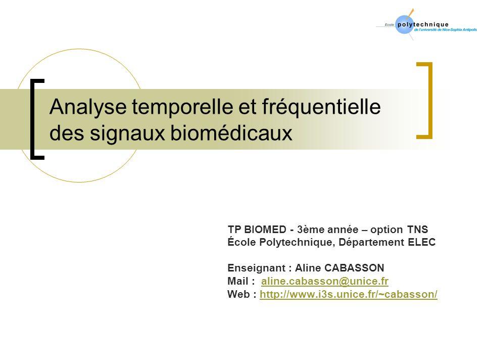 Analyse temporelle et fréquentielle des signaux biomédicaux TP BIOMED - 3ème année – option TNS École Polytechnique, Département ELEC Enseignant : Ali