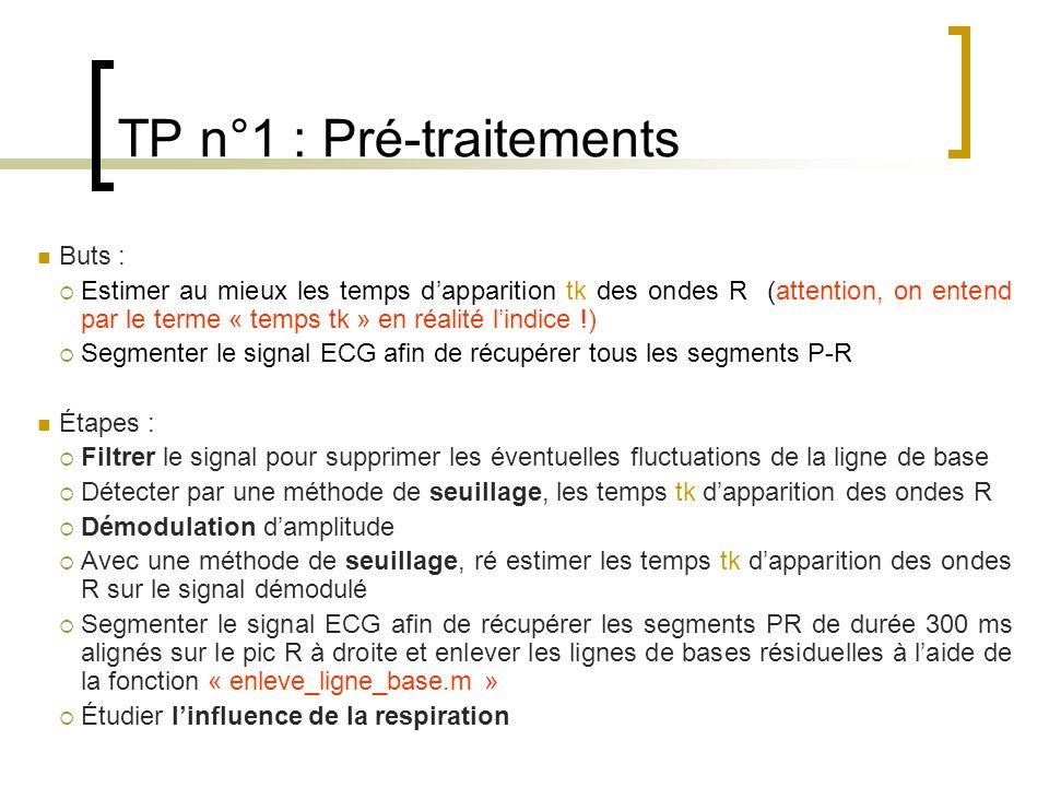 TP n°1 : Pré-traitements Buts : Estimer au mieux les temps dapparition tk des ondes R (attention, on entend par le terme « temps tk » en réalité lindi