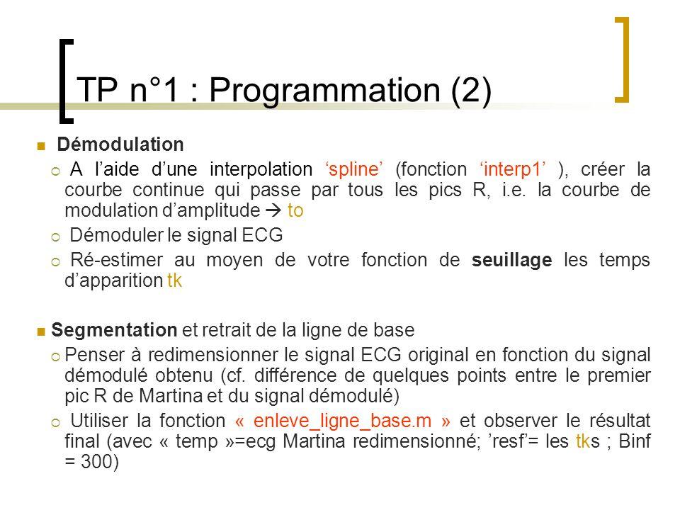TP n°1 : Programmation (2) Démodulation A laide dune interpolation spline (fonction interp1 ), créer la courbe continue qui passe par tous les pics R,
