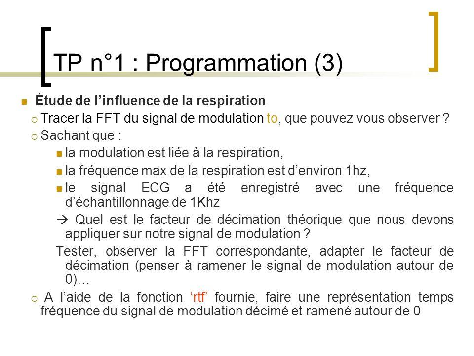 TP n°1 : Programmation (3) Étude de linfluence de la respiration Tracer la FFT du signal de modulation to, que pouvez vous observer ? Sachant que : la