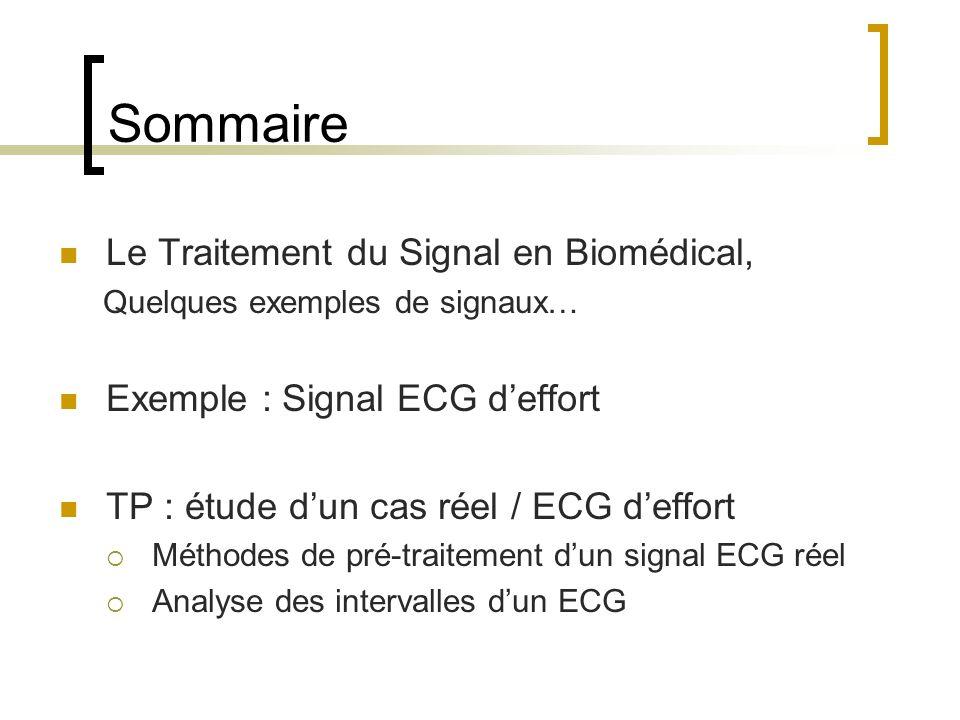 Sommaire Le Traitement du Signal en Biomédical, Quelques exemples de signaux… Exemple : Signal ECG deffort TP : étude dun cas réel / ECG deffort Métho