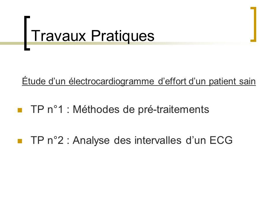 Travaux Pratiques Étude dun électrocardiogramme deffort dun patient sain TP n°1 : Méthodes de pré-traitements TP n°2 : Analyse des intervalles dun ECG