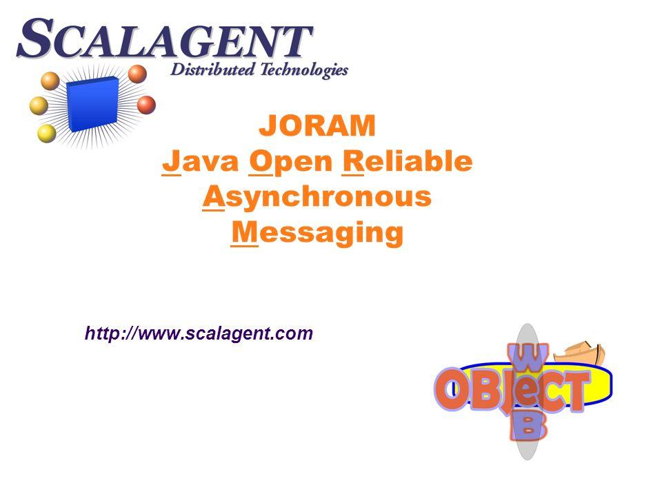 Introduction JORAM implémente la norme JMS via la plate- forme S CALAGENT è JMS normalise laccès des programmes Java aux middlewares à messages (Message Oriented Middleware) è Les MOM permettent lintégration dapplications hétérogènes et indépendantes