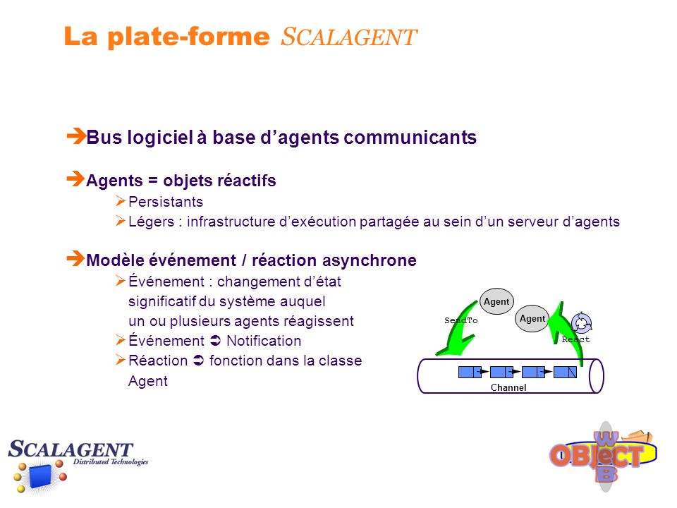 La plate-forme S CALAGENT è Bus logiciel à base dagents communicants è Agents = objets réactifs Persistants Légers : infrastructure dexécution partagé