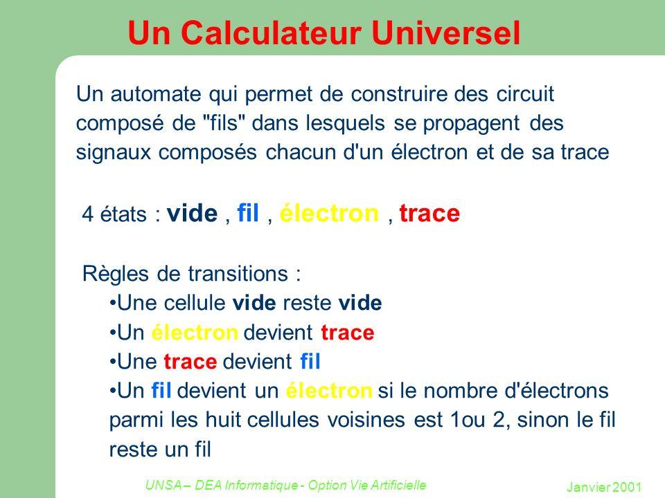 Janvier 2001 UNSA – DEA Informatique - Option Vie Artificielle Un Calculateur Universel Un automate qui permet de construire des circuit composé de