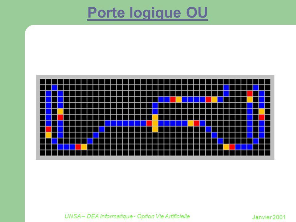 Janvier 2001 UNSA – DEA Informatique - Option Vie Artificielle Porte logique OU