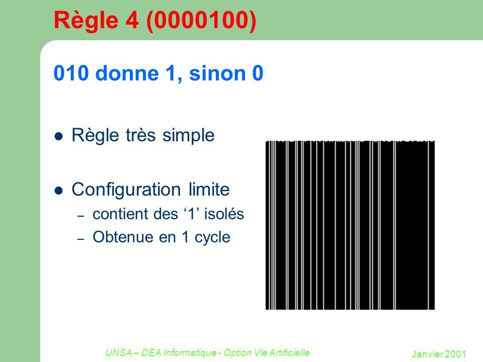 Janvier 2001 UNSA – DEA Informatique - Option Vie Artificielle Règle 4 (0000100) 010 donne 1, sinon 0 Règle très simple Configuration limite – contien