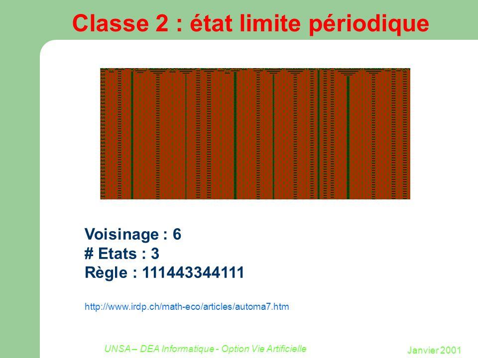 Janvier 2001 UNSA – DEA Informatique - Option Vie Artificielle Classe 2 : état limite périodique Voisinage : 6 # Etats : 3 Règle : 111443344111 http:/