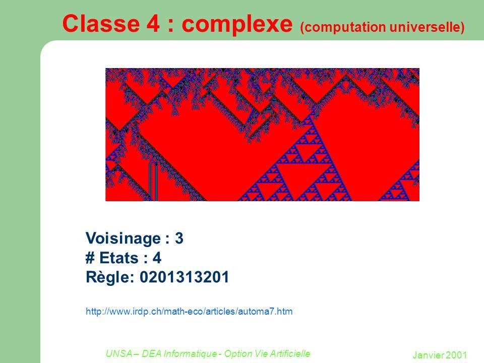 Janvier 2001 UNSA – DEA Informatique - Option Vie Artificielle Classe 4 : complexe (computation universelle) Voisinage : 3 # Etats : 4 Règle: 02013132