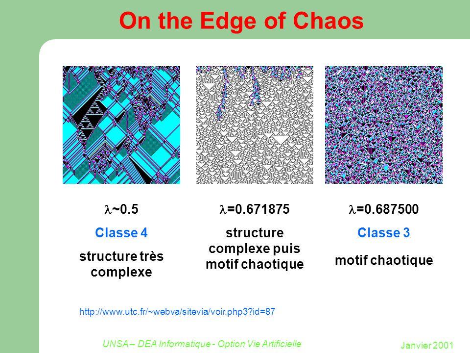 Janvier 2001 UNSA – DEA Informatique - Option Vie Artificielle On the Edge of Chaos http://www.utc.fr/~webva/sitevia/voir.php3?id=87 =0.687500 Classe