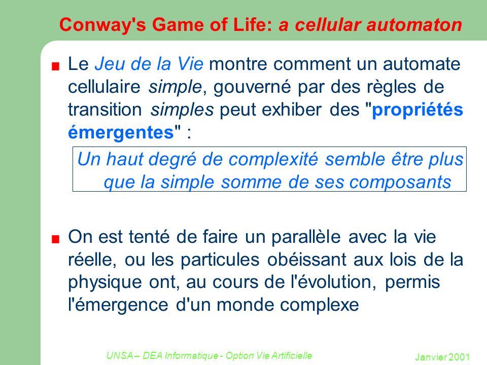 Janvier 2001 UNSA – DEA Informatique - Option Vie Artificielle Conway s Game of Life: un automate cellulaire Inventé par le mathématicien Conway 1970 Les individus vivent sur une grille rectangulaire (2D) Un case est vide ou occupée (automate à 2 états) Une case a 8 voisins Voisinage de Moore 123 4 567 8