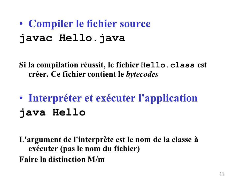 11 Compiler le fichier source javac Hello.java Si la compilation réussit, le fichier Hello.class est créer. Ce fichier contient le bytecodes Interprét