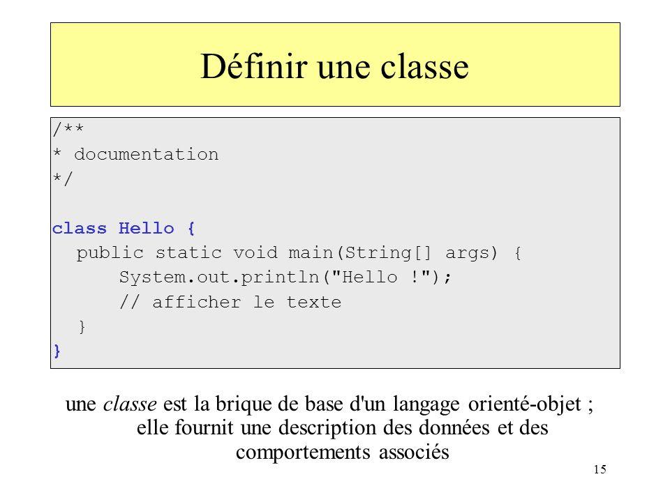 15 Définir une classe /** * documentation */ class Hello { public static void main(String[] args) { System.out.println(
