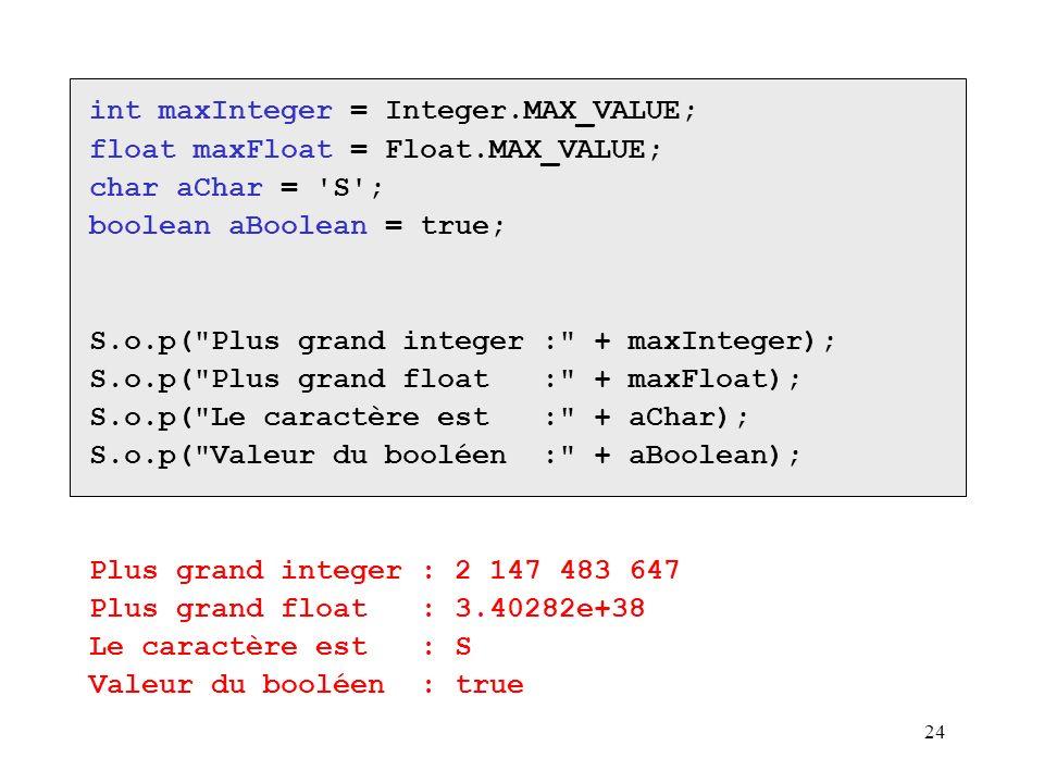 24 int maxInteger = Integer.MAX_VALUE; float maxFloat = Float.MAX_VALUE; char aChar = 'S'; boolean aBoolean = true; S.o.p(