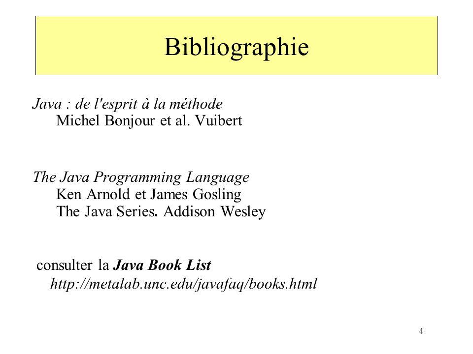 4 Java : de l'esprit à la méthode Michel Bonjour et al. Vuibert The Java Programming Language Ken Arnold et James Gosling The Java Series. Addison Wes