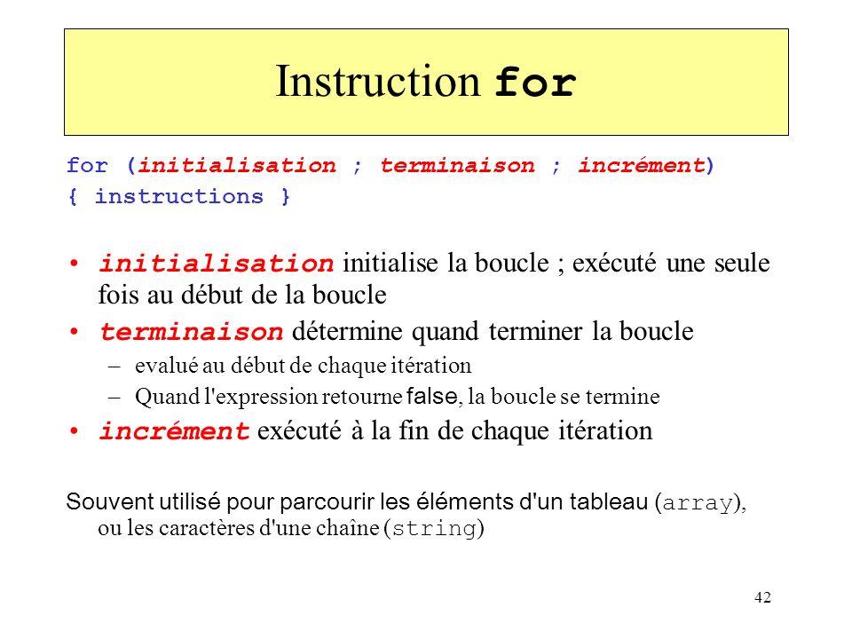 42 Instruction for for (initialisation ; terminaison ; incrément) { instructions } initialisation initialise la boucle ; exécuté une seule fois au déb
