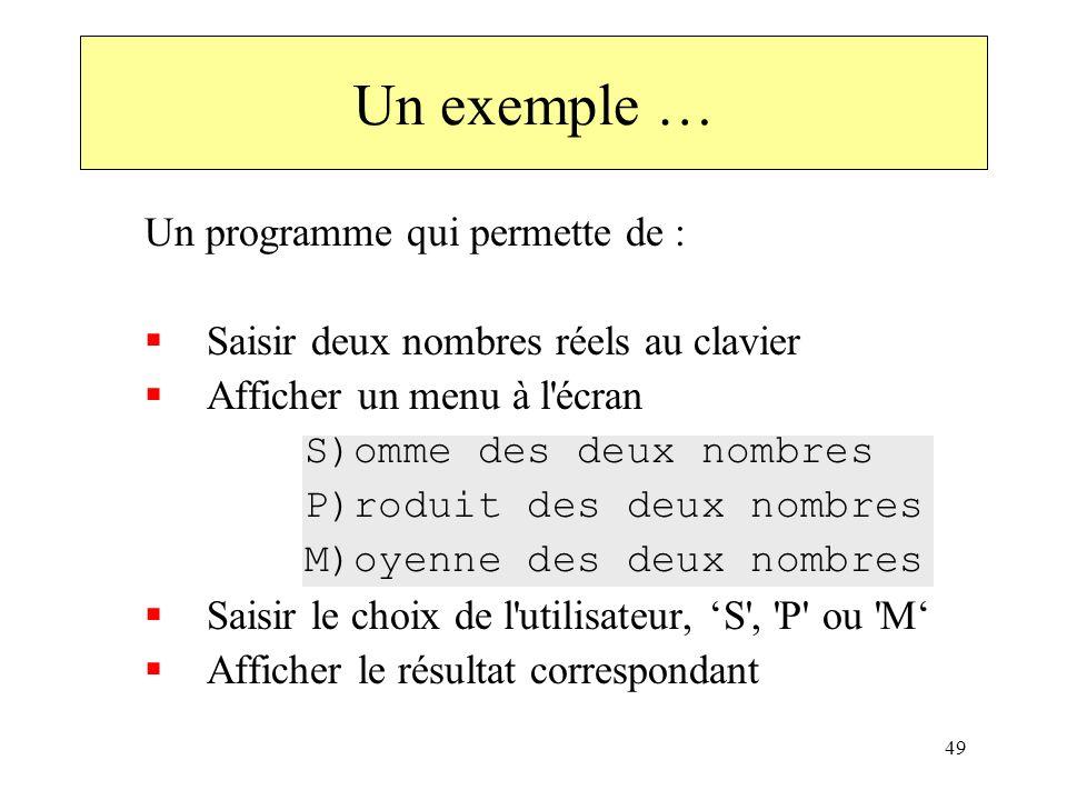 49 Un exemple … Un programme qui permette de : Saisir deux nombres réels au clavier Afficher un menu à l'écran S)omme des deux nombres P)roduit des de